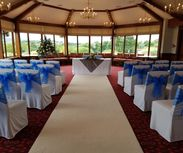 Royal Blue Organza Sashes - Light Silver Overlays
