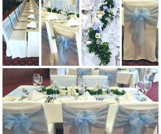 Perriwinkle Organza Sashes, Runners & Overlays