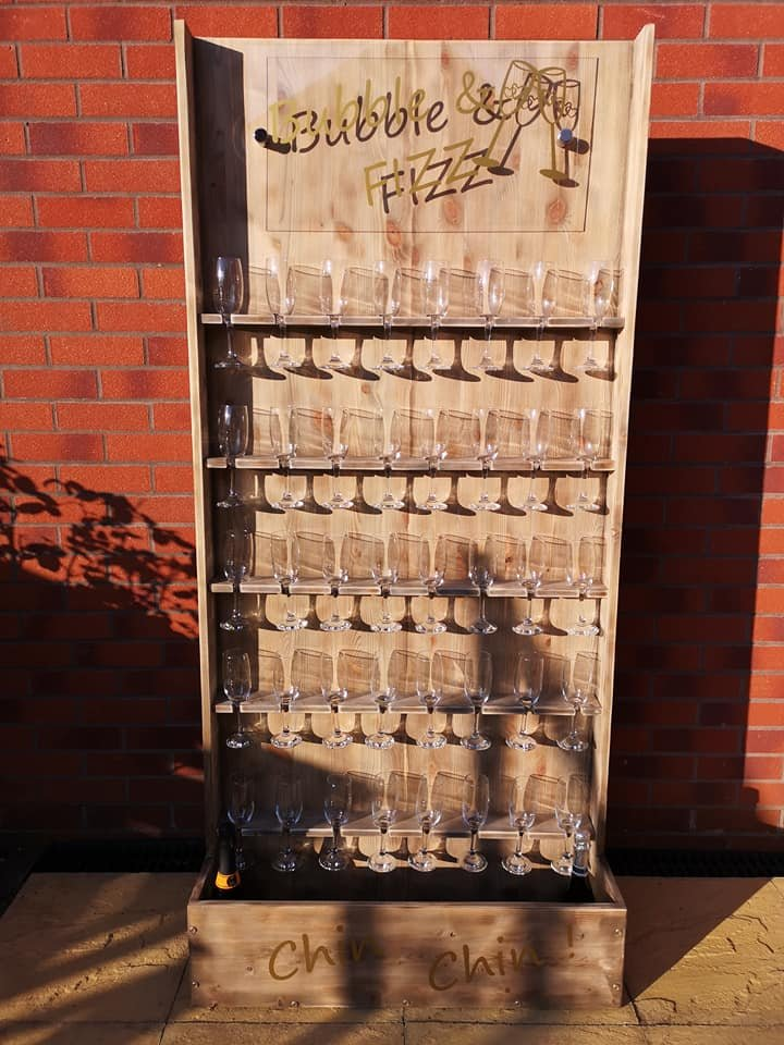 Rustic Light Up Prosecco Wall
