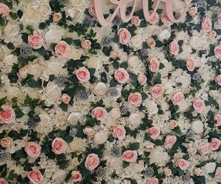 Flower Wall with Pinks & Grey
