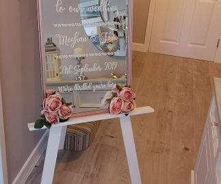 Rose Gold Mirror Welcome Sign