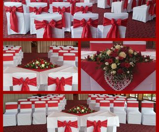 Red Taffeta Sashes & Overlays