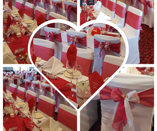 Red & Silver Organza Double Sash